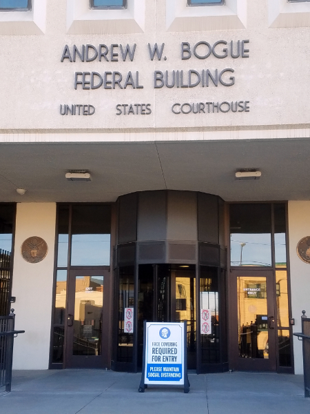 federal building with sign
